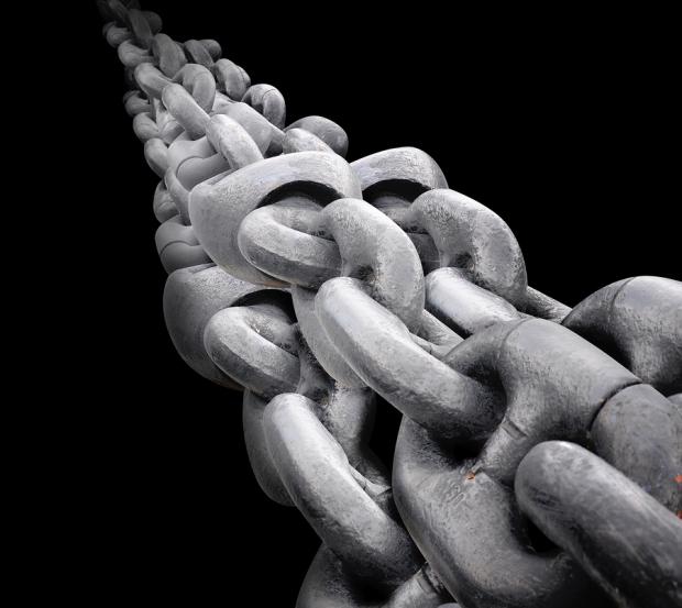 Big Steel Chain On Black Background